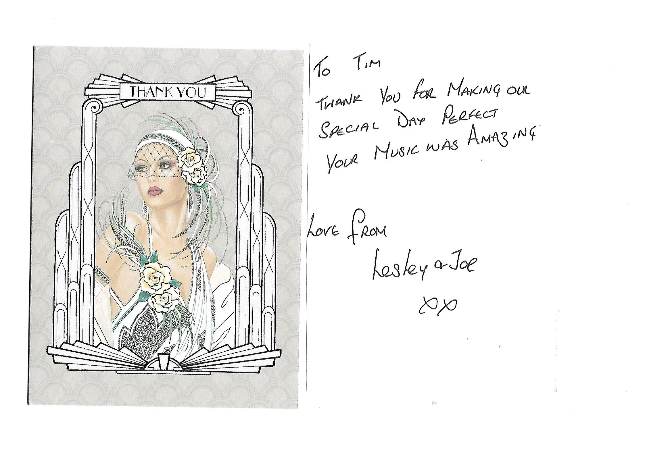One of many thank-you cards from delighted brides